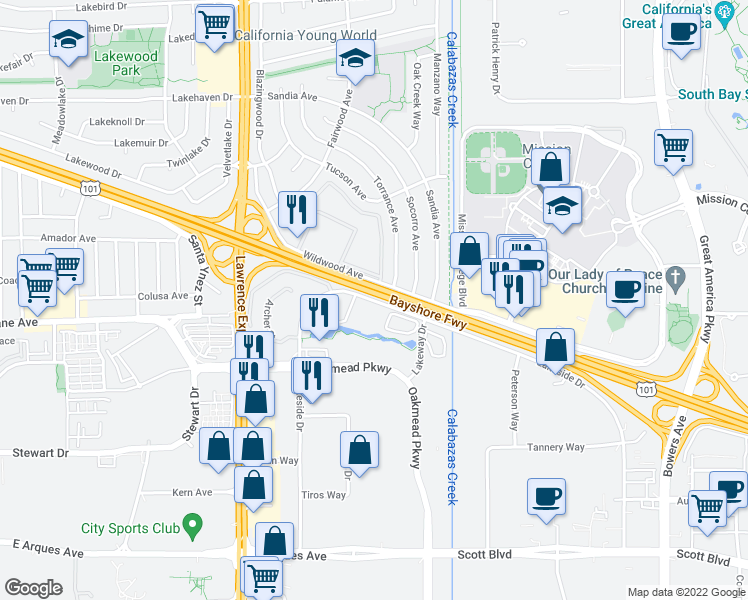 map of restaurants, bars, coffee shops, grocery stores, and more near 3102-3288 Lakeside Drive in Sunnyvale