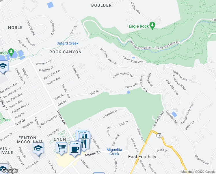 map of restaurants, bars, coffee shops, grocery stores, and more near 477 Golfview Dr in San Jose