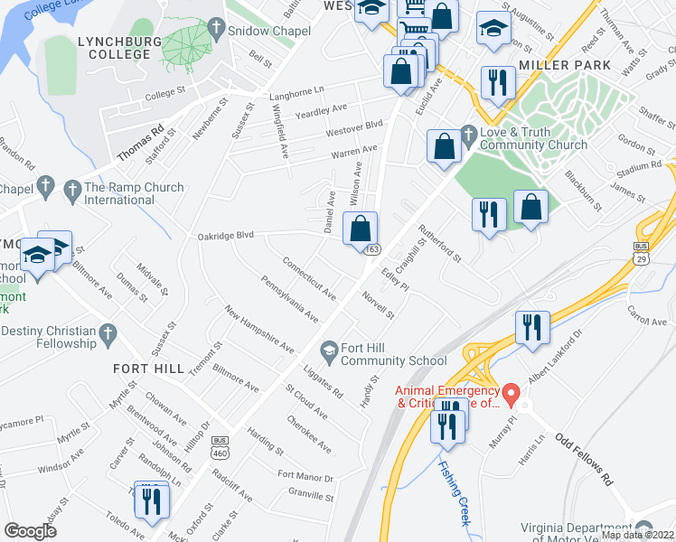 map of restaurants, bars, coffee shops, grocery stores, and more near Vermont Avenue in Lynchburg