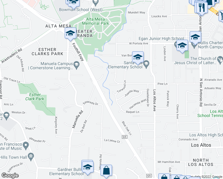 map of restaurants, bars, coffee shops, grocery stores, and more near 534 Torwood Court in Los Altos
