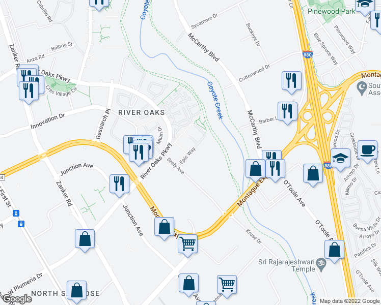 map of restaurants, bars, coffee shops, grocery stores, and more near 640 Epic Way in San Jose