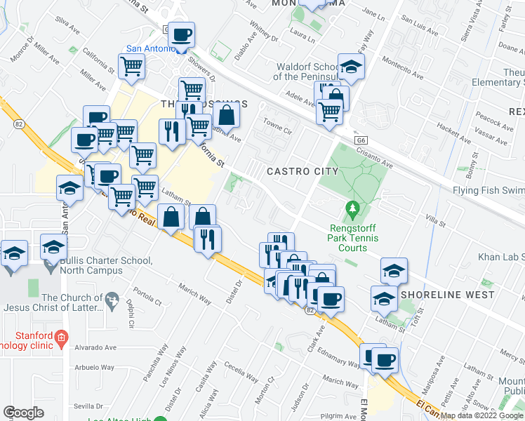 map of restaurants, bars, coffee shops, grocery stores, and more near 2235 California Street in Mountain View