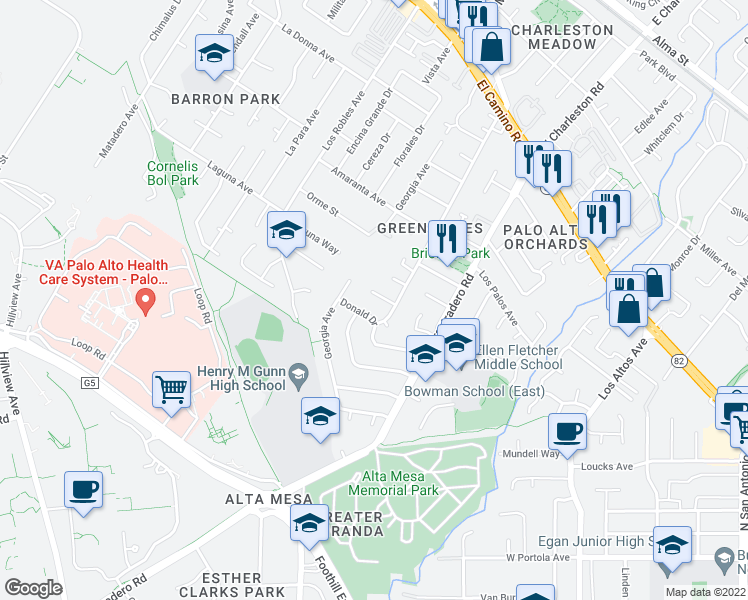 map of restaurants, bars, coffee shops, grocery stores, and more near 4168 Maybell Way in Palo Alto