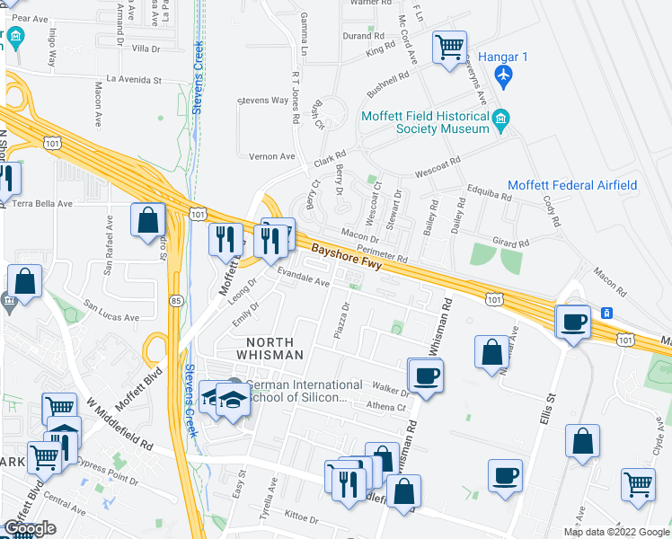 map of restaurants, bars, coffee shops, grocery stores, and more near 90 Evandale Avenue in Mountain View