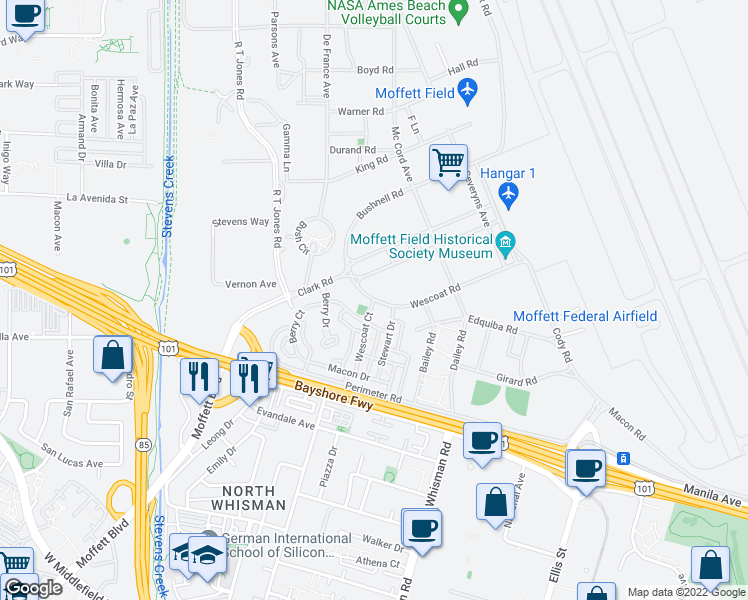 map of restaurants, bars, coffee shops, grocery stores, and more near 587 Wescoat Court in Mountain View