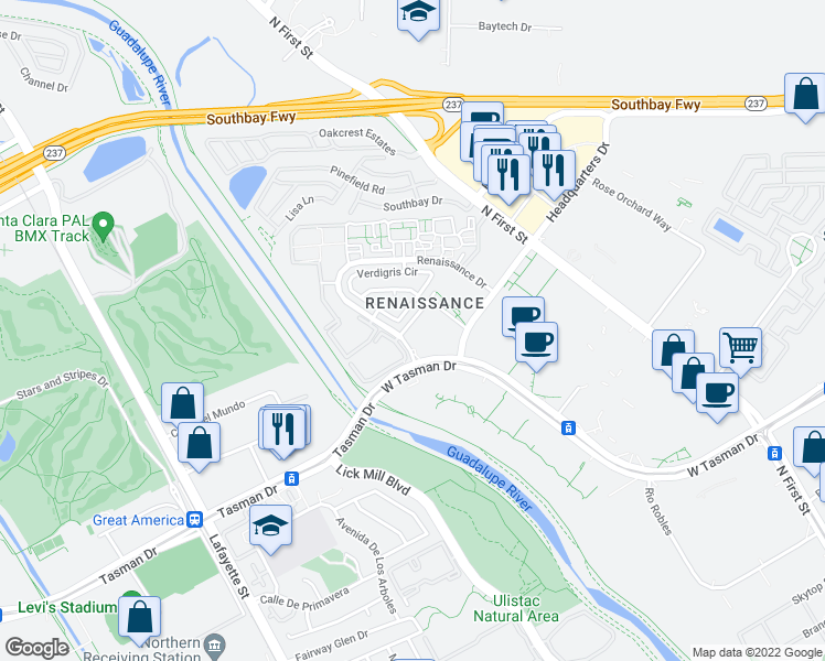 map of restaurants, bars, coffee shops, grocery stores, and more near 99 Vista Montaña in San Jose