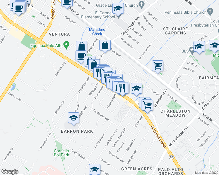 map of restaurants, bars, coffee shops, grocery stores, and more near 3800-3828 El Camino Real in Palo Alto