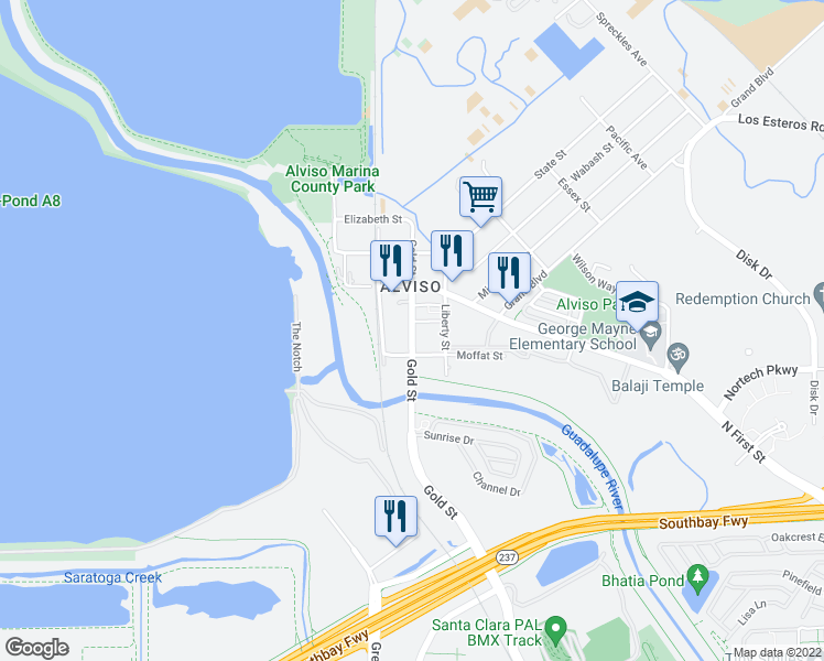 map of restaurants, bars, coffee shops, grocery stores, and more near Hoppe Street in San Jose