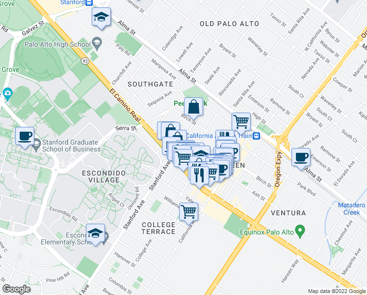 map of restaurants, bars, coffee shops, grocery stores, and more near 425 Stanford Avenue in Palo Alto