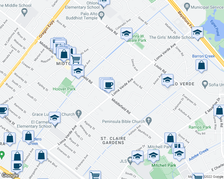 map of restaurants, bars, coffee shops, grocery stores, and more near 731 Loma Verde Avenue in Palo Alto