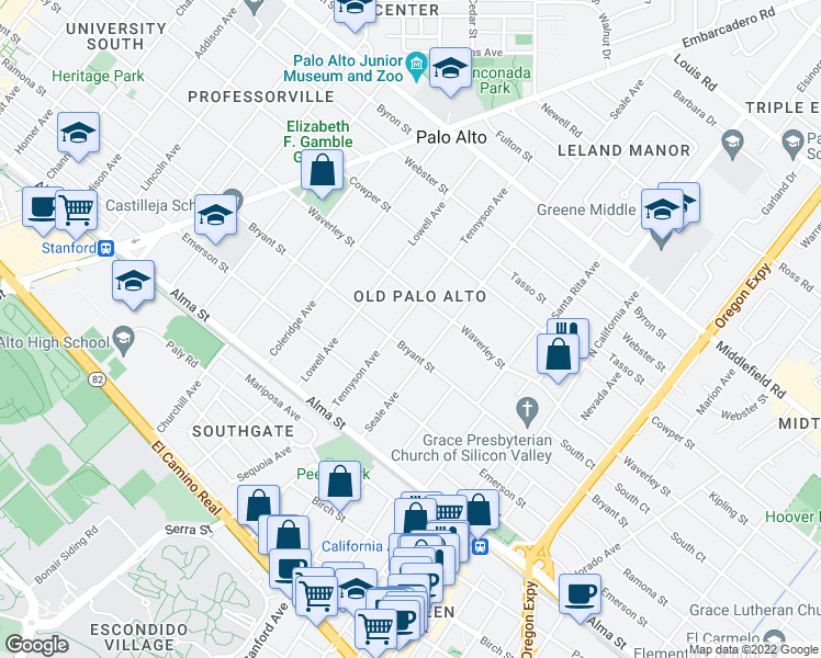 map of restaurants, bars, coffee shops, grocery stores, and more near 320 Tennyson Avenue in Palo Alto