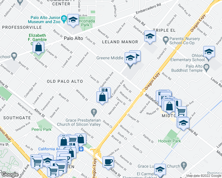 map of restaurants, bars, coffee shops, grocery stores, and more near 580 Washington Avenue in Palo Alto