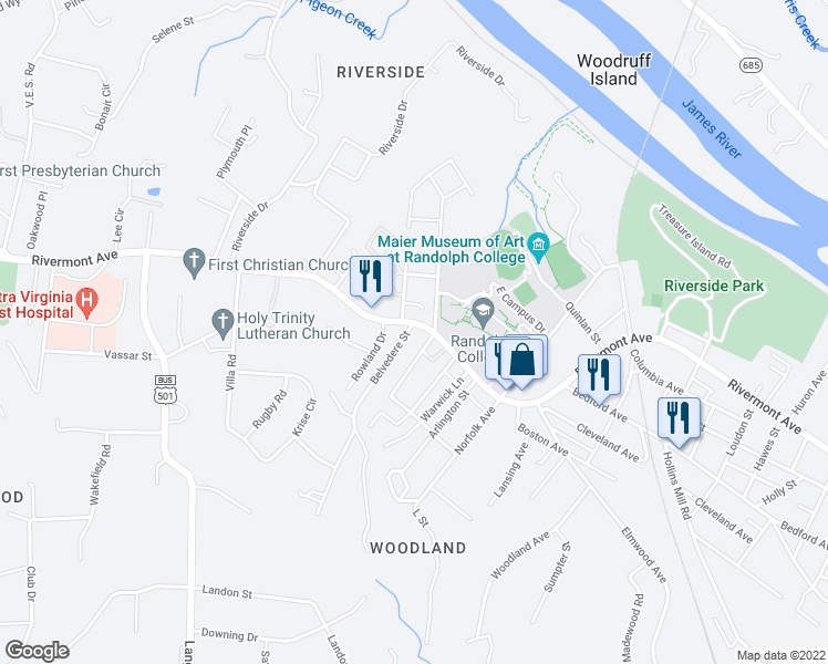 map of restaurants, bars, coffee shops, grocery stores, and more near 2811 Rivermont Avenue in Lynchburg