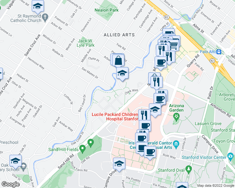 map of restaurants, bars, coffee shops, grocery stores, and more near 700 Clark Way in Palo Alto