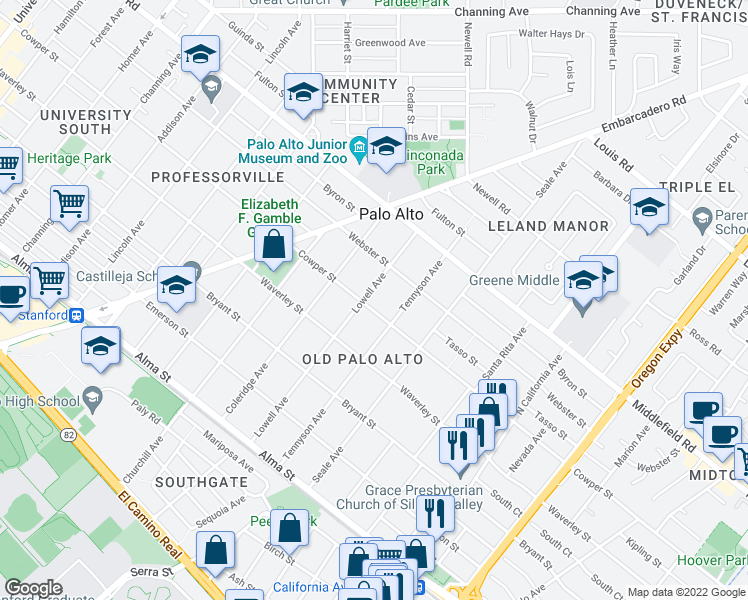 map of restaurants, bars, coffee shops, grocery stores, and more near 510 Lowell Avenue in Palo Alto