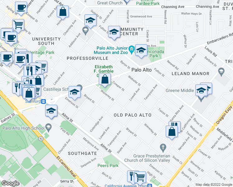 map of restaurants, bars, coffee shops, grocery stores, and more near 435 Coleridge Avenue in Palo Alto