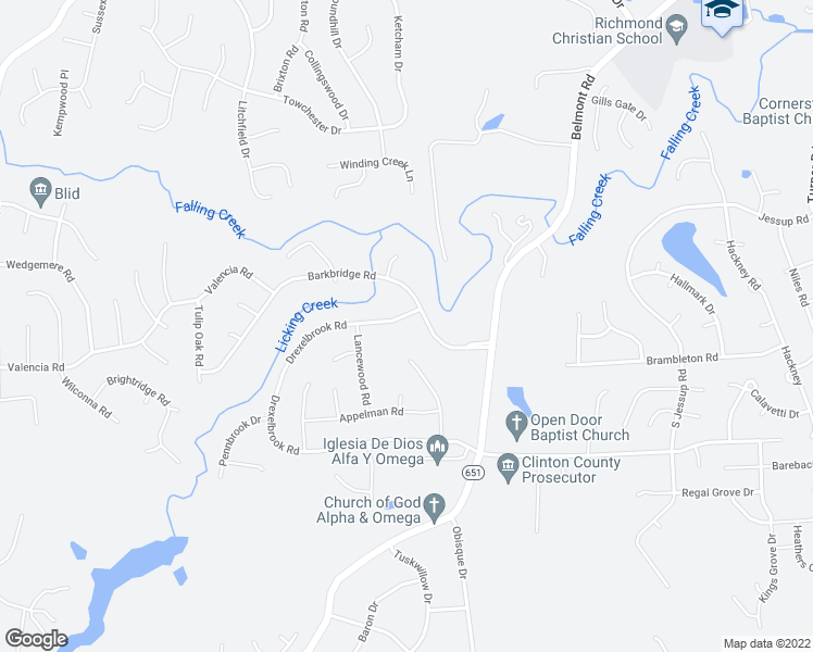 map of restaurants, bars, coffee shops, grocery stores, and more near 7205 Drexelbrook Road in Chesterfield