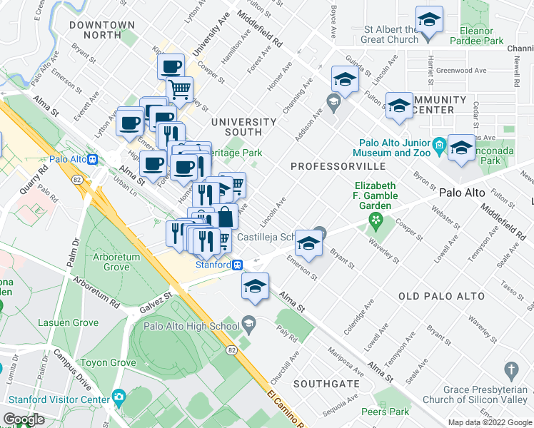 map of restaurants, bars, coffee shops, grocery stores, and more near 1057 Ramona Street in Palo Alto