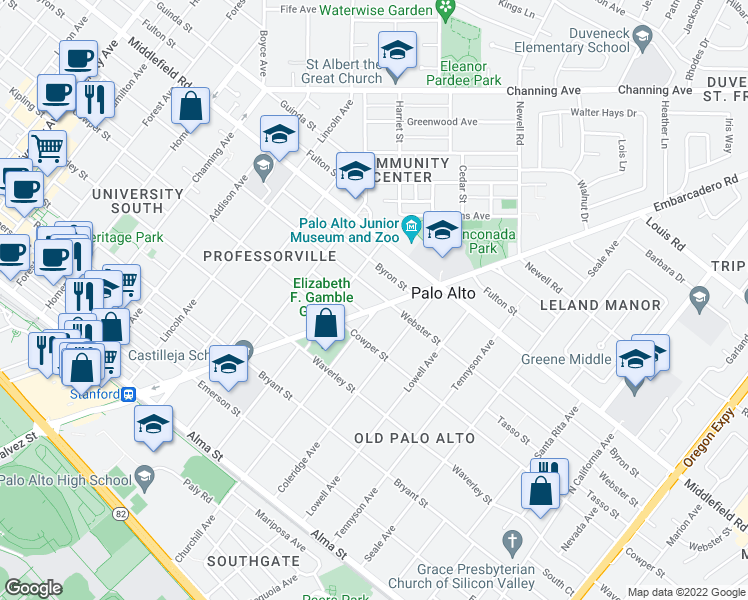 map of restaurants, bars, coffee shops, grocery stores, and more near 1492 Webster Street in Palo Alto