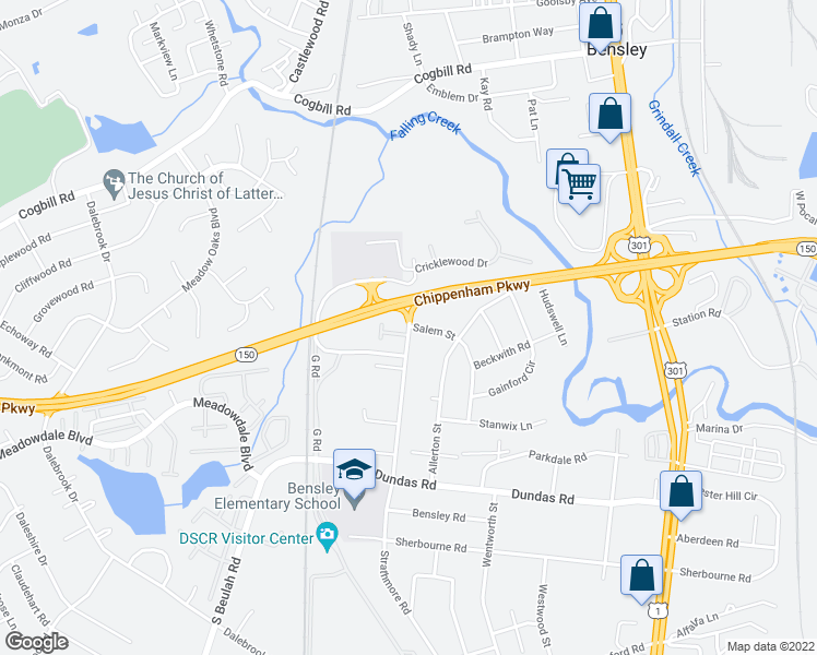 map of restaurants, bars, coffee shops, grocery stores, and more near 6100-6128 Strathmore Road in Richmond