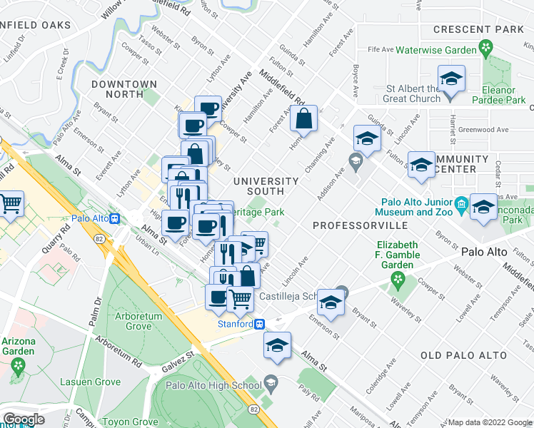 map of restaurants, bars, coffee shops, grocery stores, and more near 355 Channing Avenue in Palo Alto