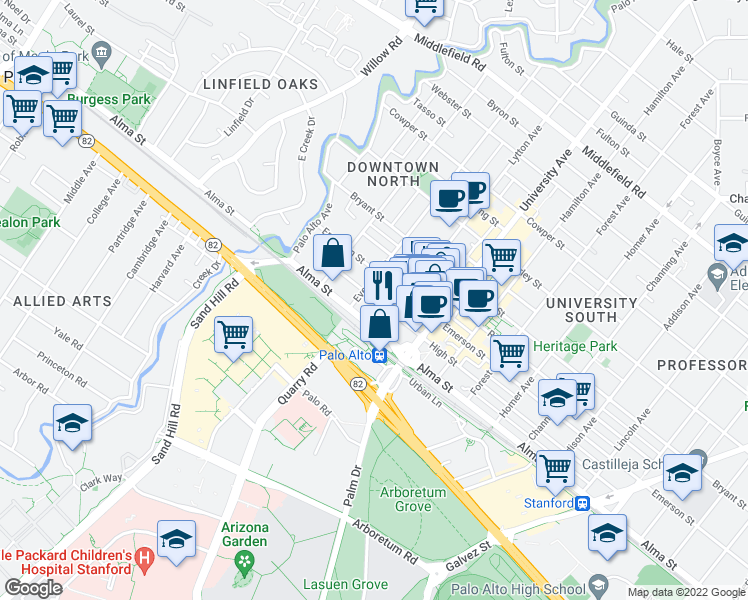 map of restaurants, bars, coffee shops, grocery stores, and more near 320 High Street in Palo Alto