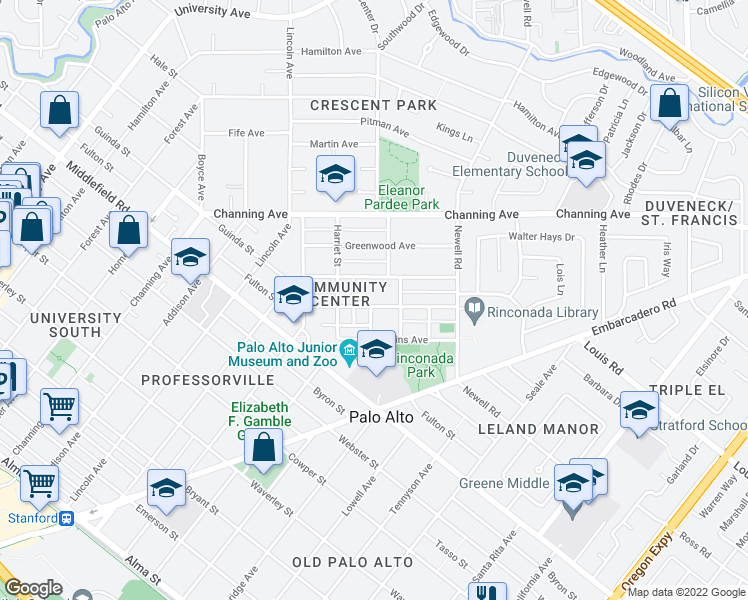 map of restaurants, bars, coffee shops, grocery stores, and more near 1201 Parkinson Avenue in Palo Alto