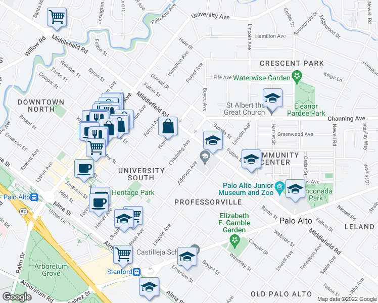 map of restaurants, bars, coffee shops, grocery stores, and more near 934 Webster Street in Palo Alto