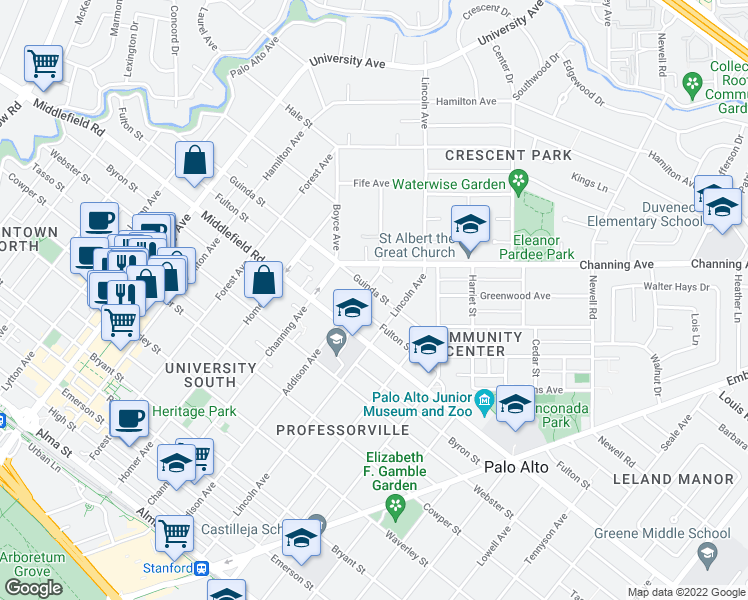 map of restaurants, bars, coffee shops, grocery stores, and more near 1020 Guinda Street in Palo Alto