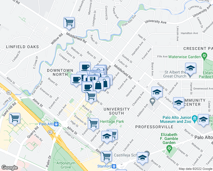 map of restaurants, bars, coffee shops, grocery stores, and more near 525 Hamilton Avenue in Palo Alto
