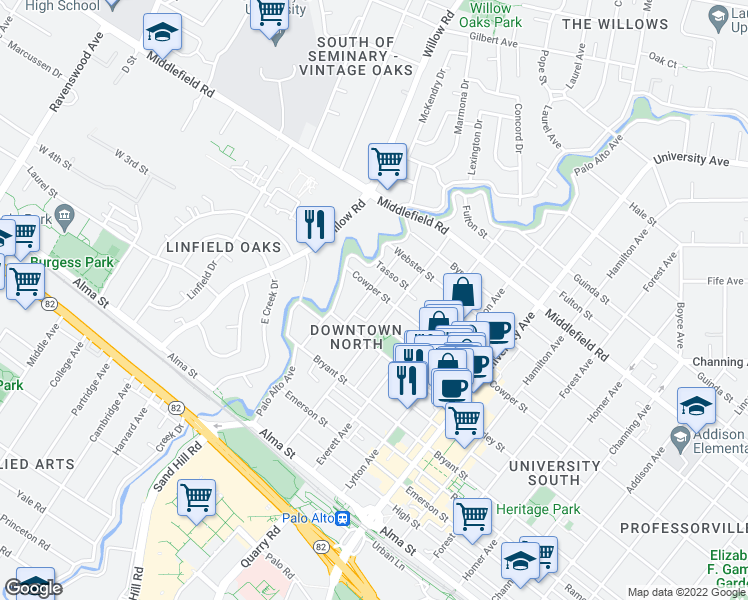 map of restaurants, bars, coffee shops, grocery stores, and more near 470 Ruthven Avenue in Palo Alto