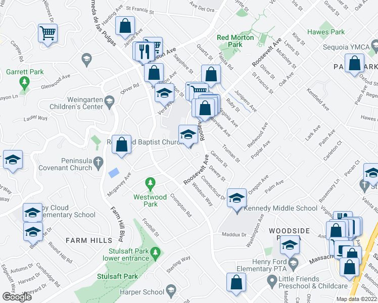 map of restaurants, bars, coffee shops, grocery stores, and more near 2325 Euclid Avenue in Redwood City