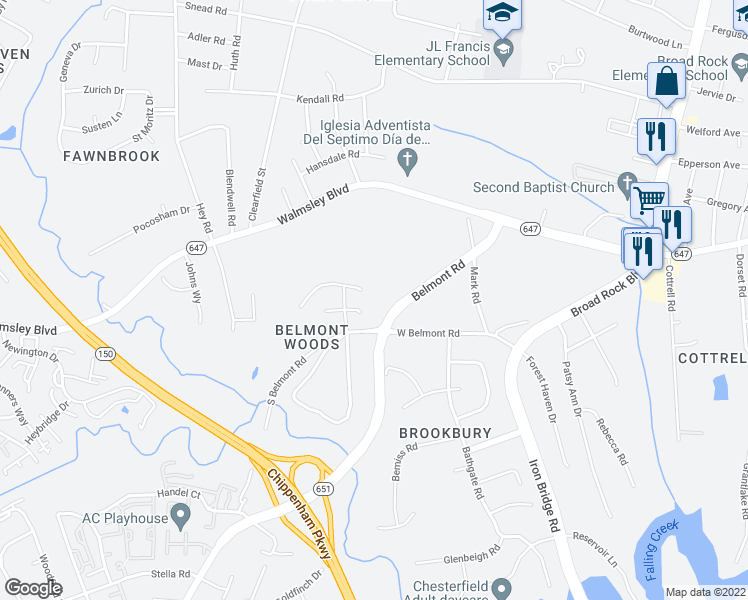 map of restaurants, bars, coffee shops, grocery stores, and more near 5138 West Belmont Road in Richmond