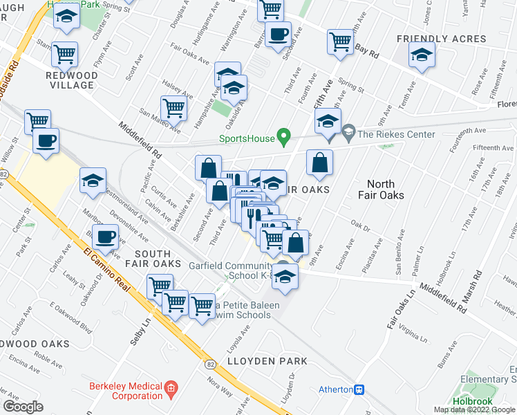 map of restaurants, bars, coffee shops, grocery stores, and more near 430 Fifth Avenue in Redwood City