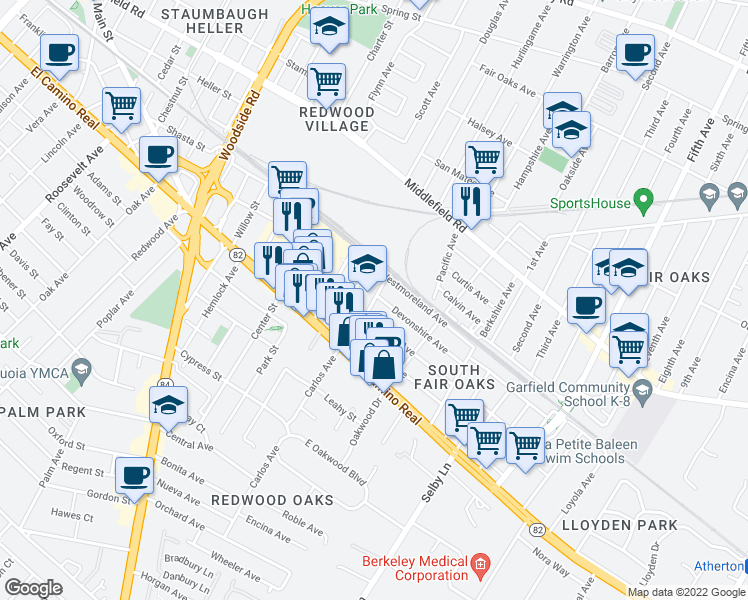 map of restaurants, bars, coffee shops, grocery stores, and more near 2713 Marlborough Avenue in Redwood City