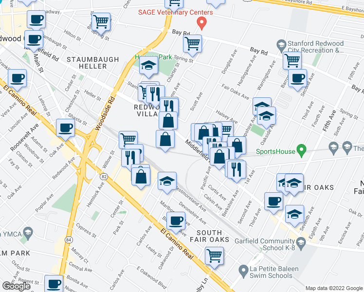 map of restaurants, bars, coffee shops, grocery stores, and more near 2615 Middlefield Road in Redwood City