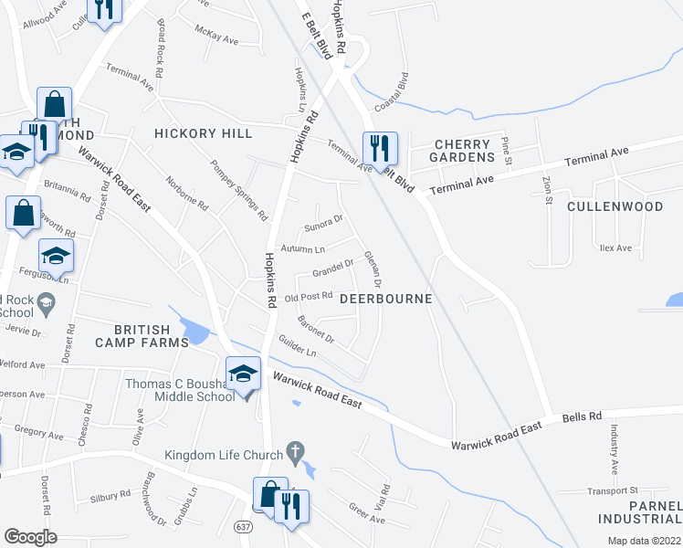 map of restaurants, bars, coffee shops, grocery stores, and more near 2907-2913 Kelrae Drive in Richmond