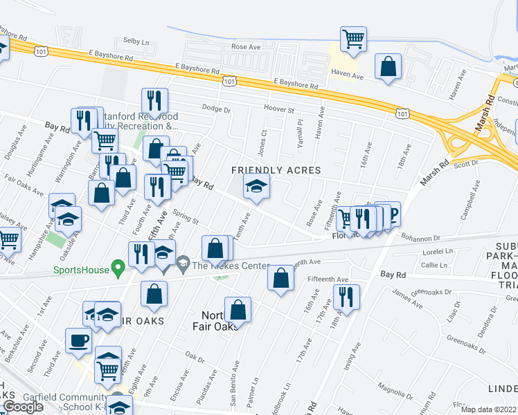map of restaurants, bars, coffee shops, grocery stores, and more near 3399 Bay Road in Redwood City