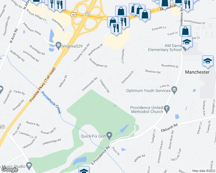 map of restaurants, bars, coffee shops, grocery stores, and more near 8624 Claypool Road in Richmond