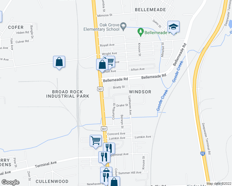 map of restaurants, bars, coffee shops, grocery stores, and more near 2506 Atwell Drive in Richmond