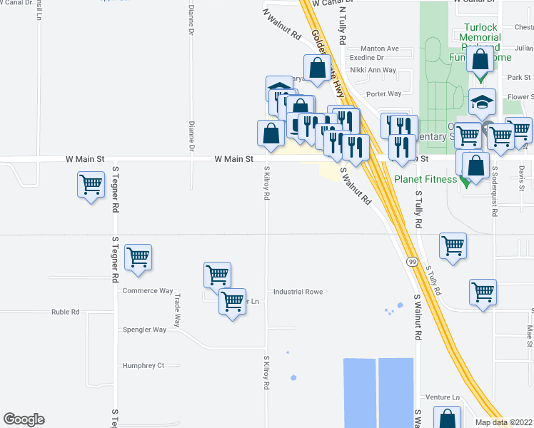 map of restaurants, bars, coffee shops, grocery stores, and more near 525 South Kilroy Road in Turlock