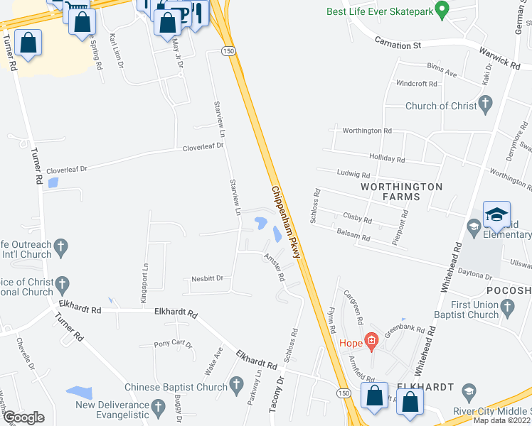 map of restaurants, bars, coffee shops, grocery stores, and more near 6923 Starview Court in Richmond