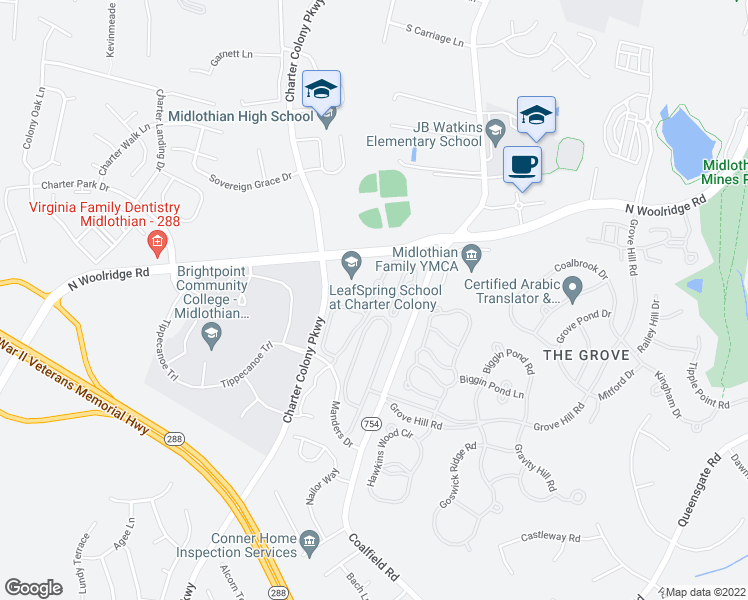 map of restaurants, bars, coffee shops, grocery stores, and more near 704 Bristol Village Drive in Midlothian