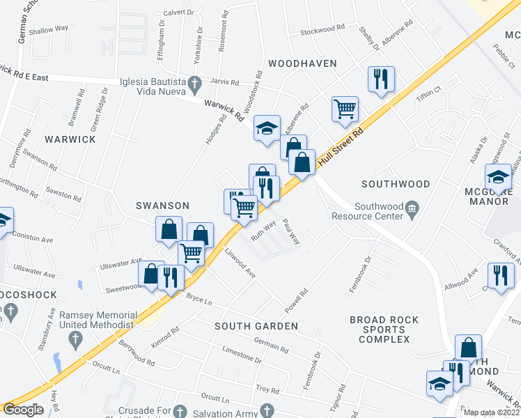 map of restaurants, bars, coffee shops, grocery stores, and more near 5308-5336 Hull Street Road in Richmond