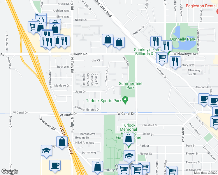 map of restaurants, bars, coffee shops, grocery stores, and more near 1679 Joett Drive in Turlock