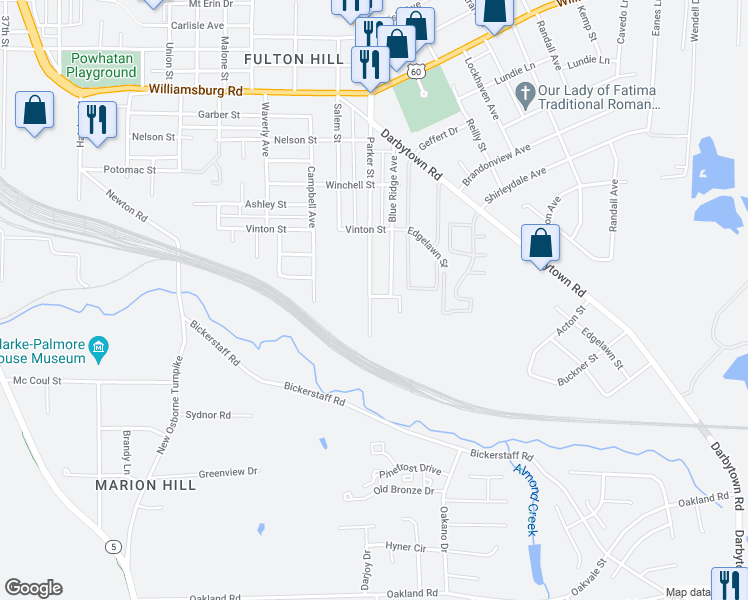 map of restaurants, bars, coffee shops, grocery stores, and more near 5501 Parker Street in Richmond