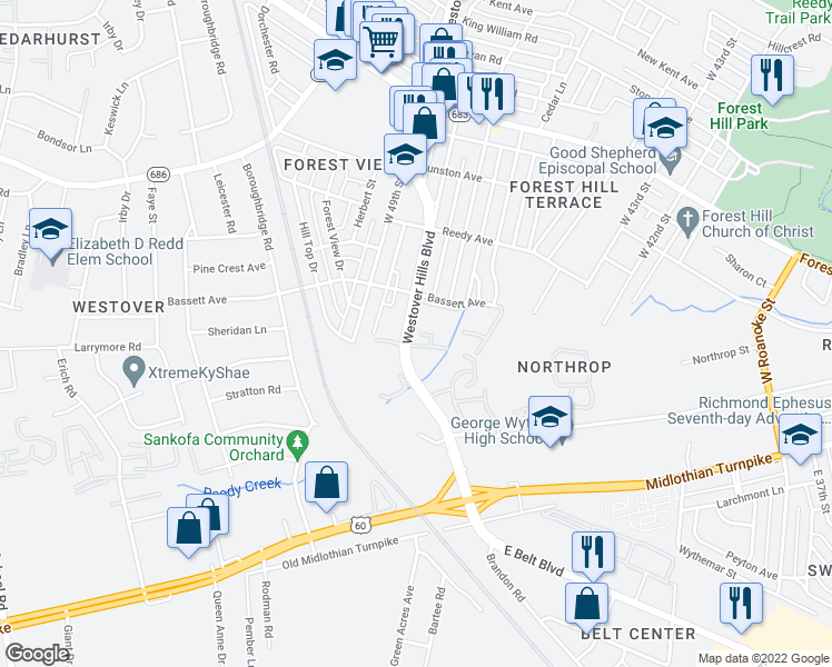 map of restaurants, bars, coffee shops, grocery stores, and more near 603 Westover Hills Boulevard in Richmond