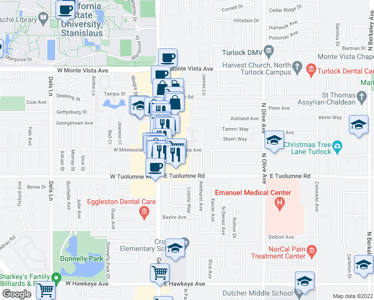 map of restaurants, bars, coffee shops, grocery stores, and more near 301-307 East Minnesota Avenue in Turlock