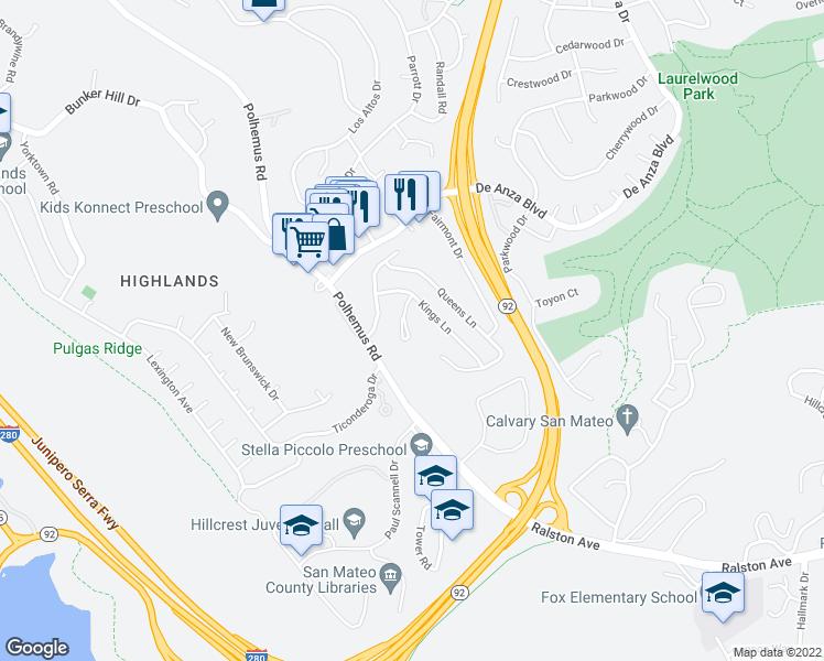 map of restaurants, bars, coffee shops, grocery stores, and more near 40 Crown Court in San Mateo