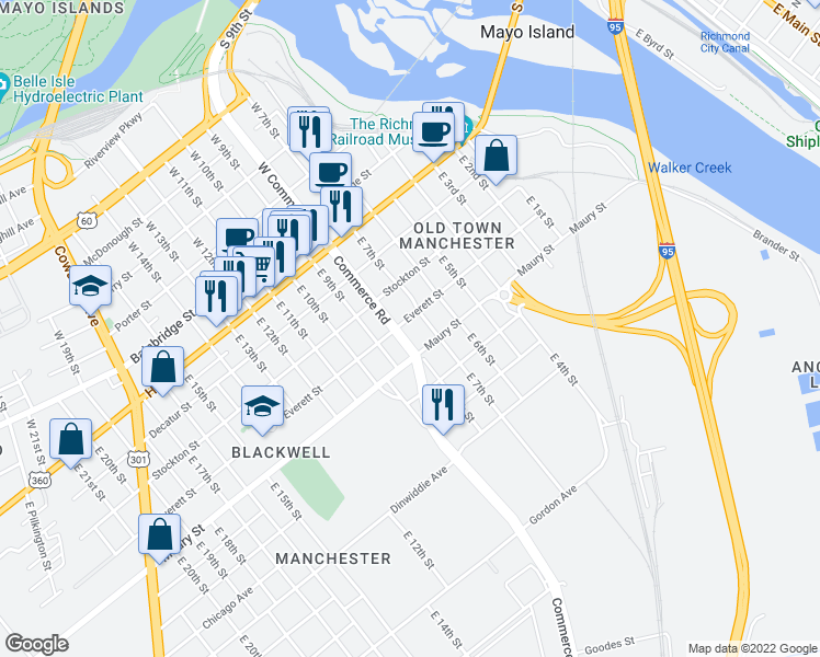 map of restaurants, bars, coffee shops, grocery stores, and more near 700 Everett Street in Richmond